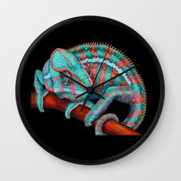 Panther Chameleon Turquoise Blue & Coral Red Wall Clock