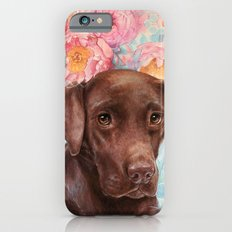 Flowers and Chocolate (chocolate lab dog watercolor portrait painting) Slim Case iPhone 6s