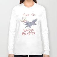 butt Long Sleeve T-shirts featuring Whup Butt! by Yiji