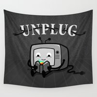 literary Wall Tapestries featuring Unplug by littleclyde