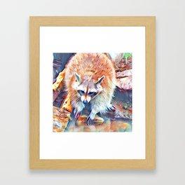Aquarell Raccoon Framed Art Print