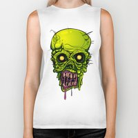 zombie Biker Tanks featuring Zombie by Lady Macabre Art