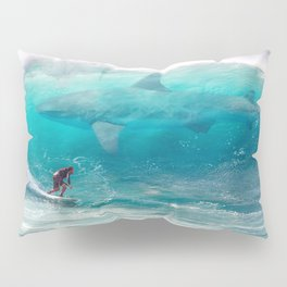 Surfing with a Giant Shark Pillow Sham