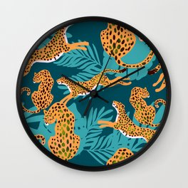 leopards in tropical forest - orange and dark blue Wall Clock