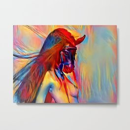 Pony girl - fetish erotic woman topless, colorful BDSM slave artwork, masked female animal like kink Metal Print