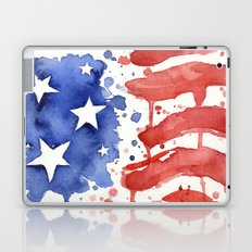 American Flag Watercolor Abstract Stars and Stripes Laptop & iPad Skin