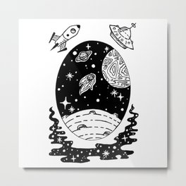 Space Themed Illustration — Comet Flying Past Planets Galaxy Design Metal Print