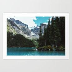 Canoeing in Moraine lake Art Print