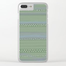 Green with Stripes and Dots Clear iPhone Case