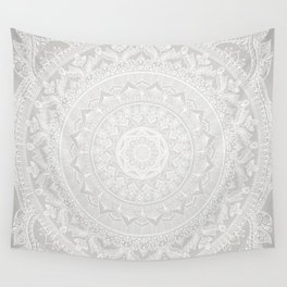 Mandala Soft Gray Wall Tapestry