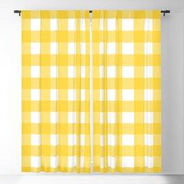 White & Yellow Gingham Pattern Blackout Curtain