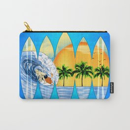 Surfer And Surfboards Carry-All Pouch