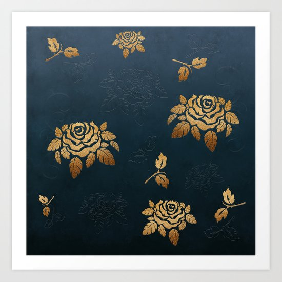 Golden Rose - Glitter Pattern Art Print