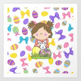 Easter Eggs Girl Art Print