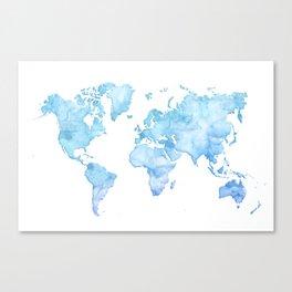 Light blue watercolor world map Canvas Print