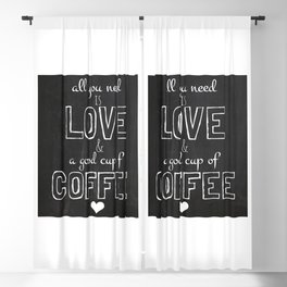 Love and coffee Blackout Curtain