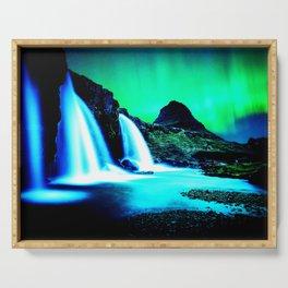 Aurora Borealis Waterfall Vibrant Serving Tray