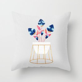 Blue Strawberry Flowers Throw Pillow