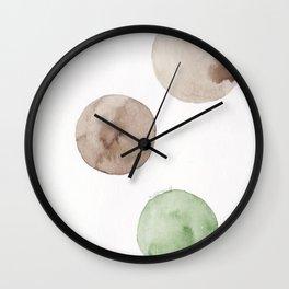 15  |181104 Australian Leaf Green & Brown Earth Orbs | Watercolour Circle Abstract Geometrical Wall Clock