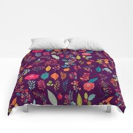 Autumn orange purple pink berries holly floral Comforters
