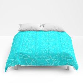 Stars White turquoise Comforters