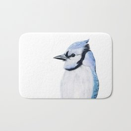 Blue Jay, Blue Bird, Watercolor painting by Suisai Genki Bath Mat