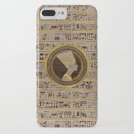 Pyrographed Golden Nefertiti on wood iPhone Case