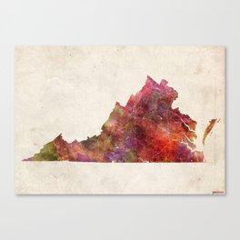Virginia map landscape Canvas Print
