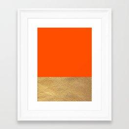 Color Blocked Gold & Poppy Framed Art Print
