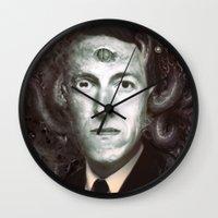 lovecraft Wall Clocks featuring H.P. Lovecraft  by MATT DEMINO