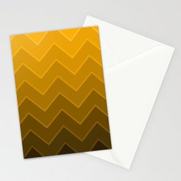 Gradient Golden Yellow Zig-Zags Stationery Cards