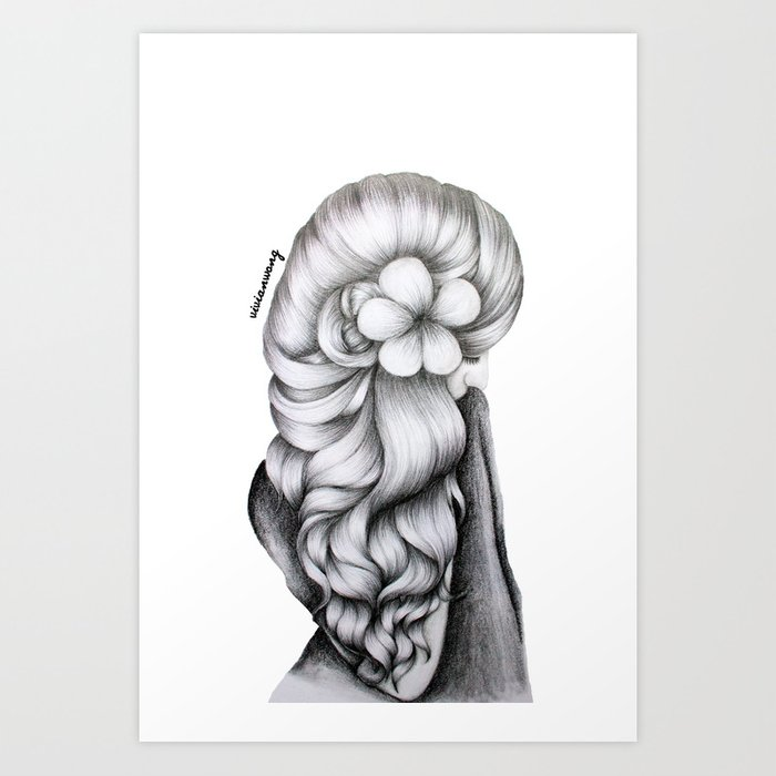 Black white pencil sketch wavy hair flower girl art print