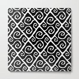 Diamond Pattern Black-White Metal Print