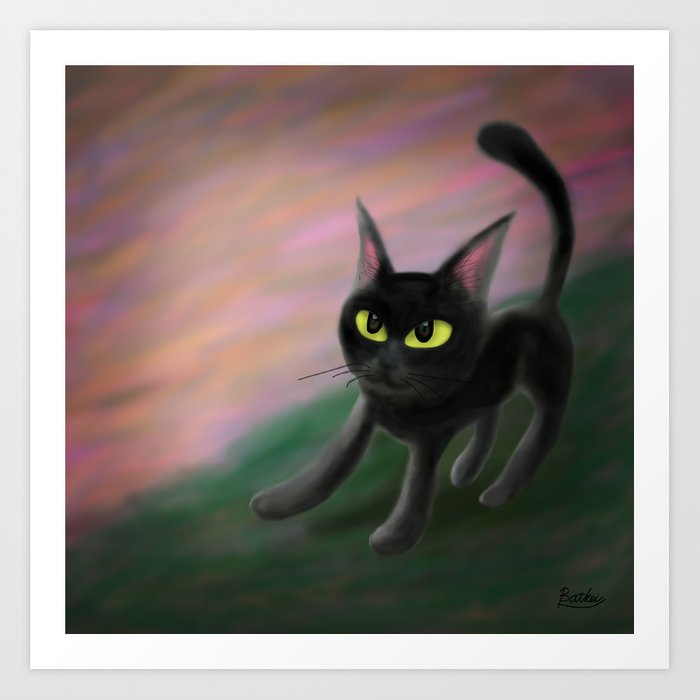 Kitty in riverside Art Print
