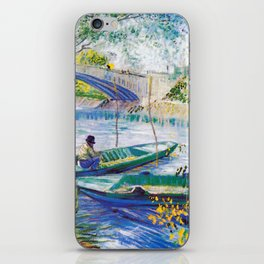 Vincent van Gogh Fisherman and Boats from the Pont de Clichy iPhone Skin