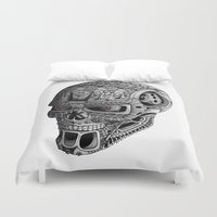 terminator Duvet Covers featuring Ornate Terminator by Adrian Dominguez