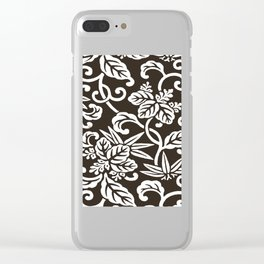 Espresso Brown Japanese Leaf Pattern Clear iPhone Case