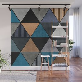 Colorful Concrete Triangles 2 - Blue, Grey, Brown Wall Mural