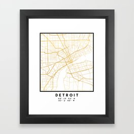DETROIT MICHIGAN CITY STREET MAP ART Framed Art Print