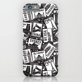 Retro Postcards // black and white iPhone Case