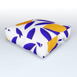 Blue and yellow Lemon Summery Pattern Outdoor Floor Cushion