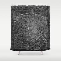 paris map Shower Curtains featuring Paris map by Le petit Archiviste