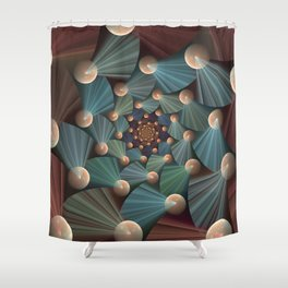 Graphic Design, Modern Fractal Art Pattern Shower Curtain