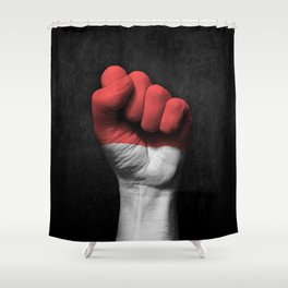 Indonesian Flag on a Raised Clenched Fist Shower Curtain