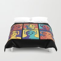 evolution Duvet Covers featuring Cyberpop Evolution by Doodle Dojo