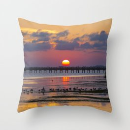 Sunset on the Sound Side Throw Pillow