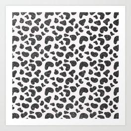 Hipster girly black white glitter cheetah animal print Art Print