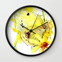 Yellow Butterfly and Yellow Flowers Wall Clock