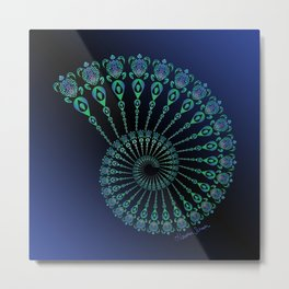 Spiral Tribal Turtle Shell Metal Print
