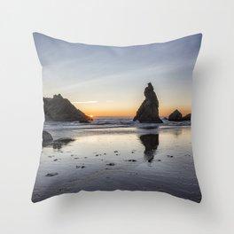 Children Playing at Sunset on Bandon Beach Throw Pillow